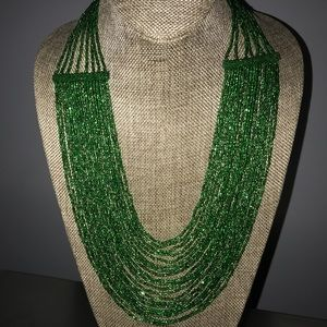 Sparkly Beaded Green Statement Necklace